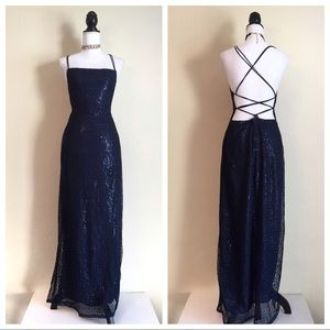 Vintage 90's Sequin Open Back Dress